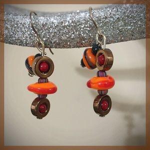 GLASS BEAD EARRINGS - Multi-colored